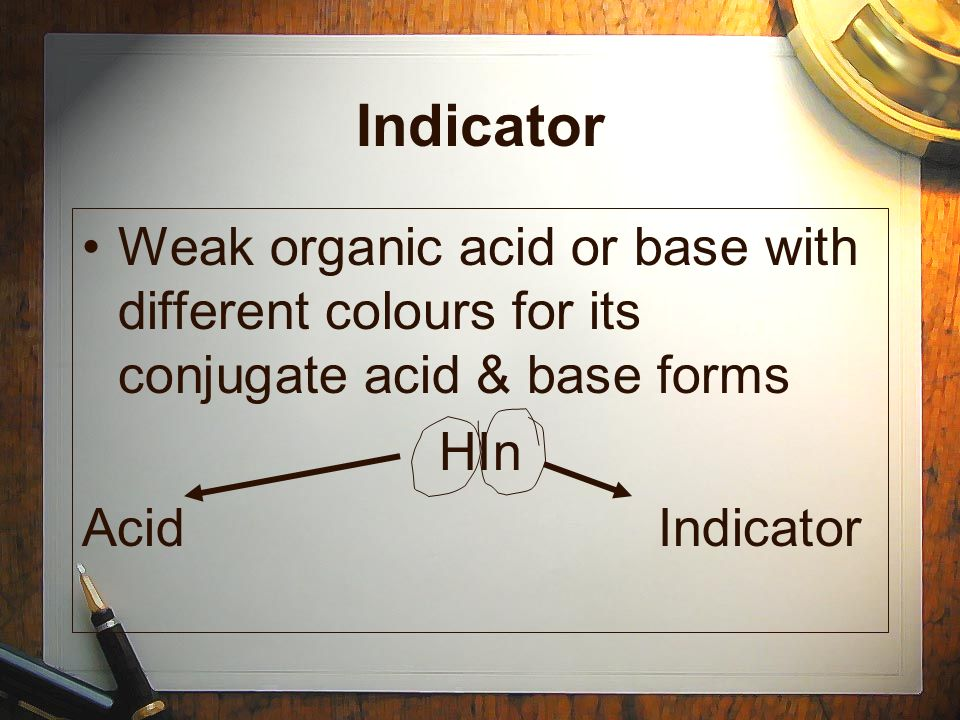 Indicator Weak organic acid or base with different colours for its conjugate acid & base forms HIn AcidIndicator