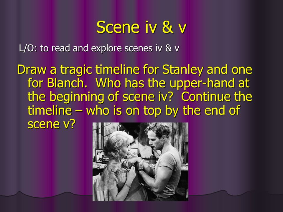 Examining scene iv Scene iv is known as the plays turning point and tends to be where an interval is placed – by the end of the scene, can you say why.
