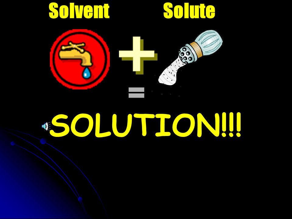 SOLVENT the part of a solution that does the dissolving