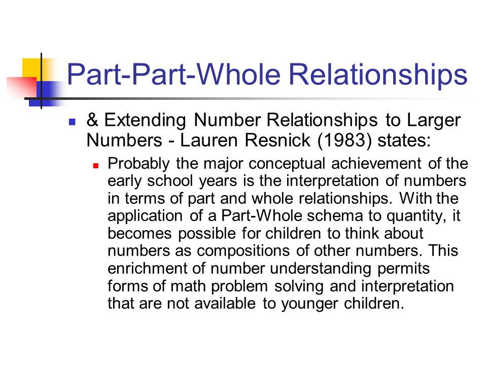 Part-Part-Whole Relationships & Extending Number Relationships to Larger Numbers (continued) Find as many ways as possible to represent the following numbers (with the ten-frame cards): 80 35 67