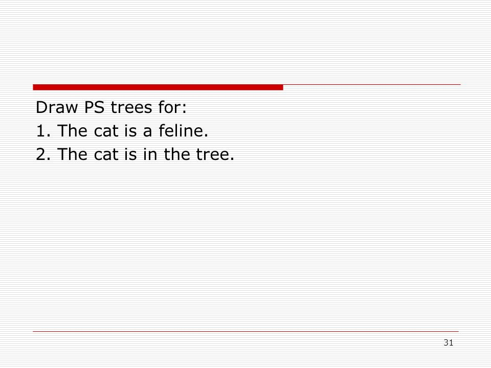 Draw PS trees for: 1. The cat is a feline. 2. The cat is in the tree. 31