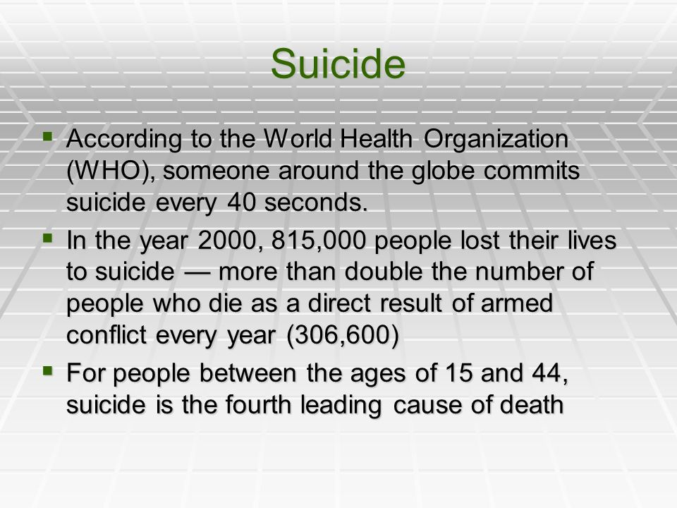 Suicide According to the World Health Organization (WHO), someone around the globe commits suicide every 40 seconds.