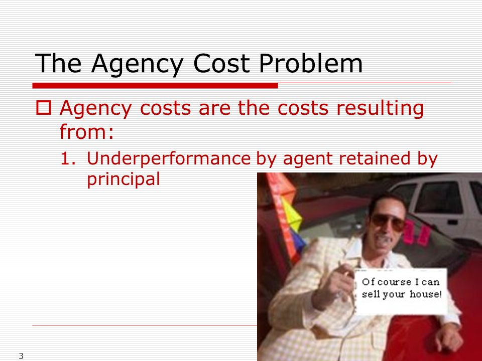 The Agency Cost Problem Agency costs are the costs resulting from: 1.Underperformance by agent retained by principal 3
