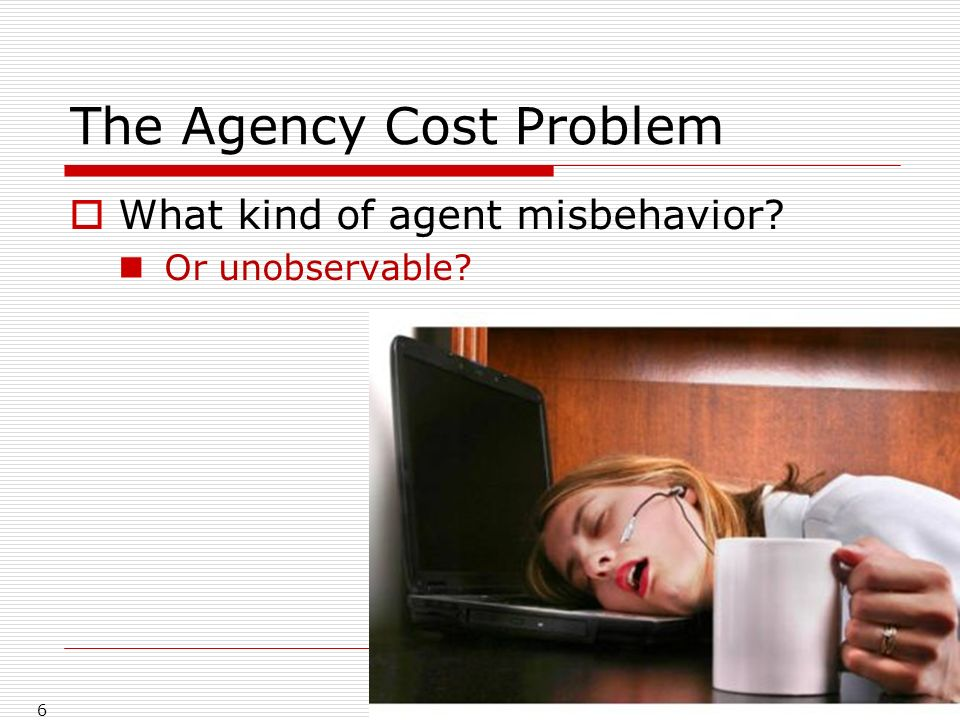 The Agency Cost Problem What kind of agent misbehavior Or unobservable 6