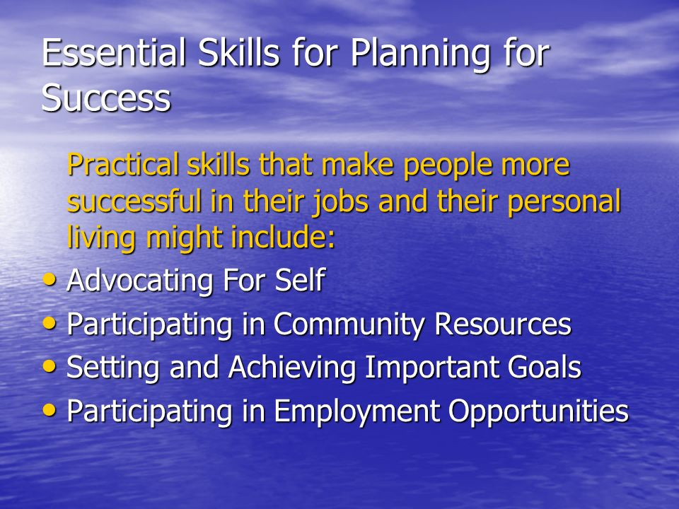 Essential Skills for Planning for Success Practical skills that make people more successful in their jobs and their personal living might include: Adv