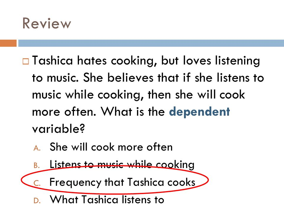 Review Tashica hates cooking, but loves listening to music.