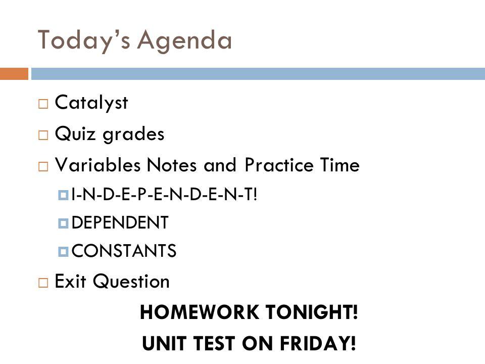 Todays Agenda Catalyst Quiz grades Variables Notes and Practice Time I-N-D-E-P-E-N-D-E-N-T! DEPENDENT CONSTANTS Exit Question HOMEWORK TONIGHT! UNIT T