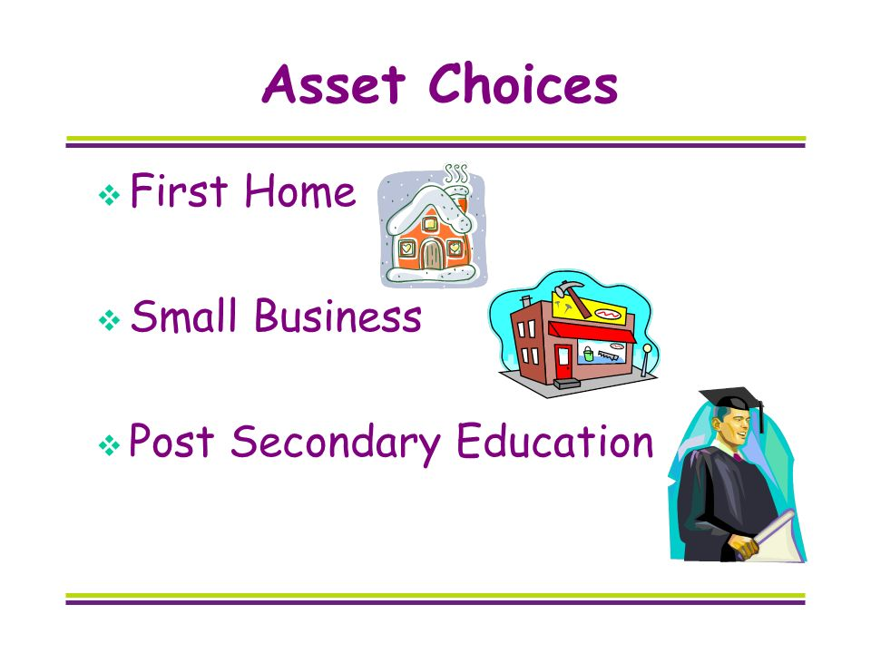 Asset Choices First Home Small Business Post Secondary Education