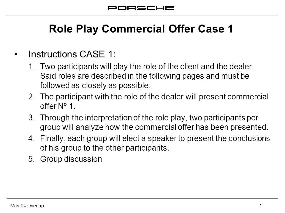 May 04 Overlap1 Role Play Commercial Offer Case 1 Instructions CASE 1: 1.