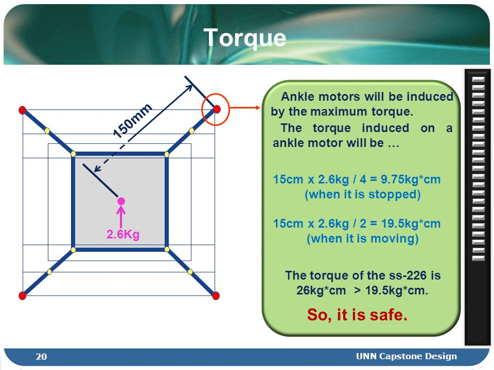 Ankle motors will be induced by the maximum torque. Torque 150mm The torque induced on a ankle motor will be … 15cm x 2.6kg / 4 = 9.75kg*cm (when it i