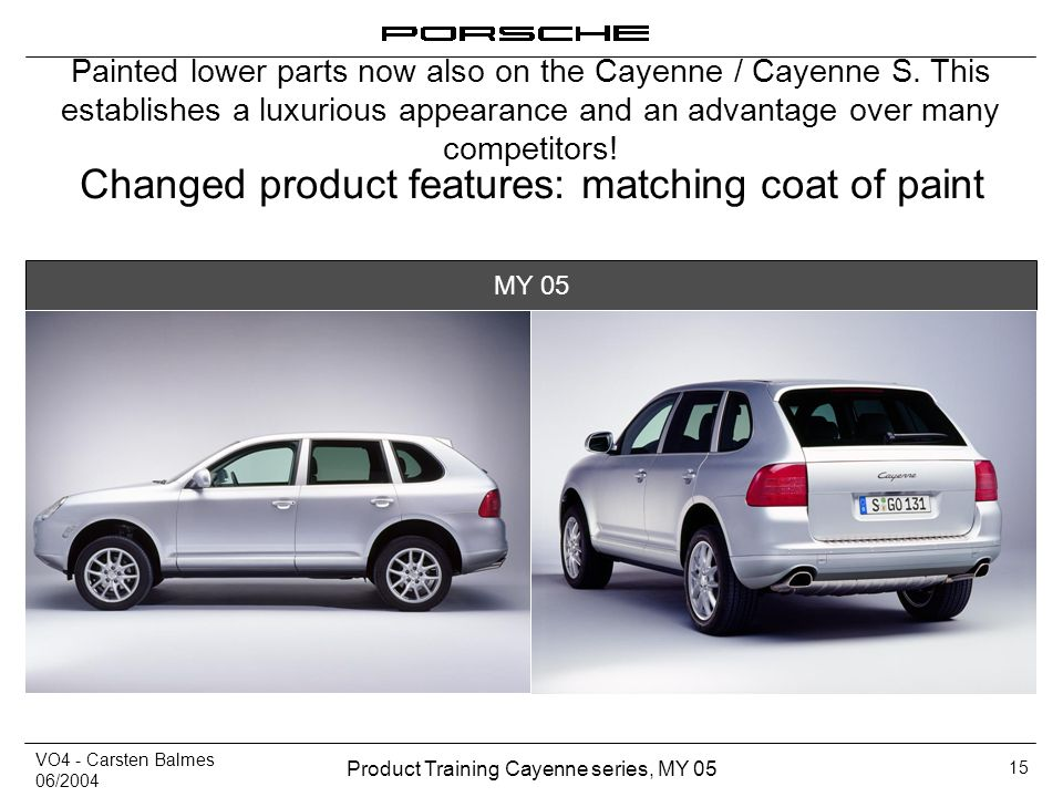 VO4 - Carsten Balmes 06/2004 Product Training Cayenne series, MY 05 15 Changed product features: matching coat of paint Painted lower parts now also o