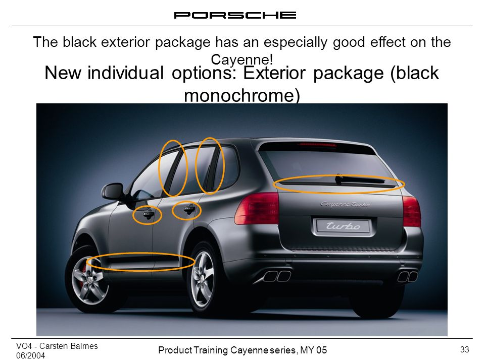 VO4 - Carsten Balmes 06/2004 Product Training Cayenne series, MY 05 33 New individual options: Exterior package (black monochrome) The black exterior