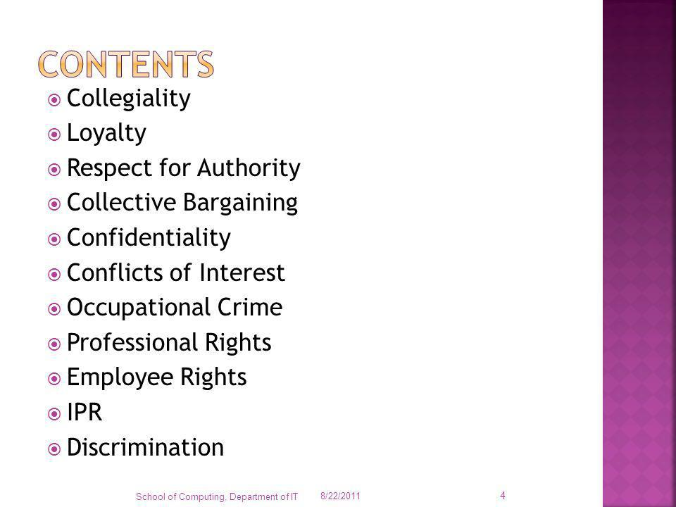 Collegiality Loyalty Respect for Authority Collective Bargaining Confidentiality Conflicts of Interest Occupational Crime Professional Rights Employee