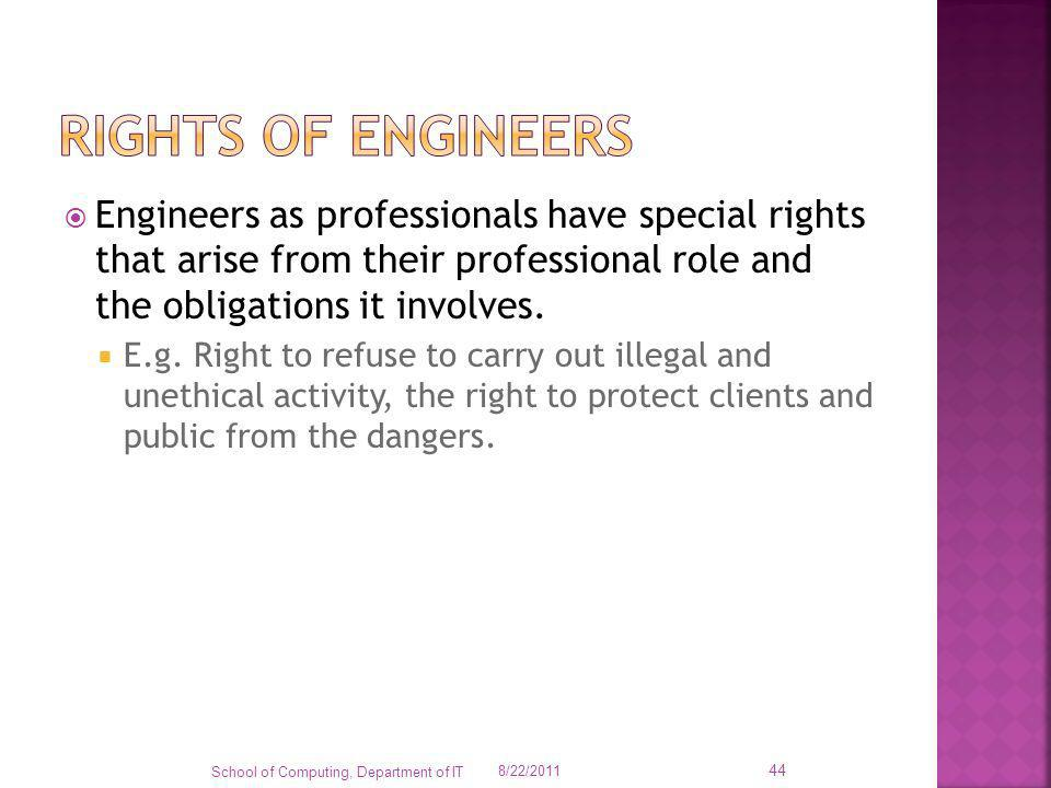 Engineers as professionals have special rights that arise from their professional role and the obligations it involves. E.g. Right to refuse to carry