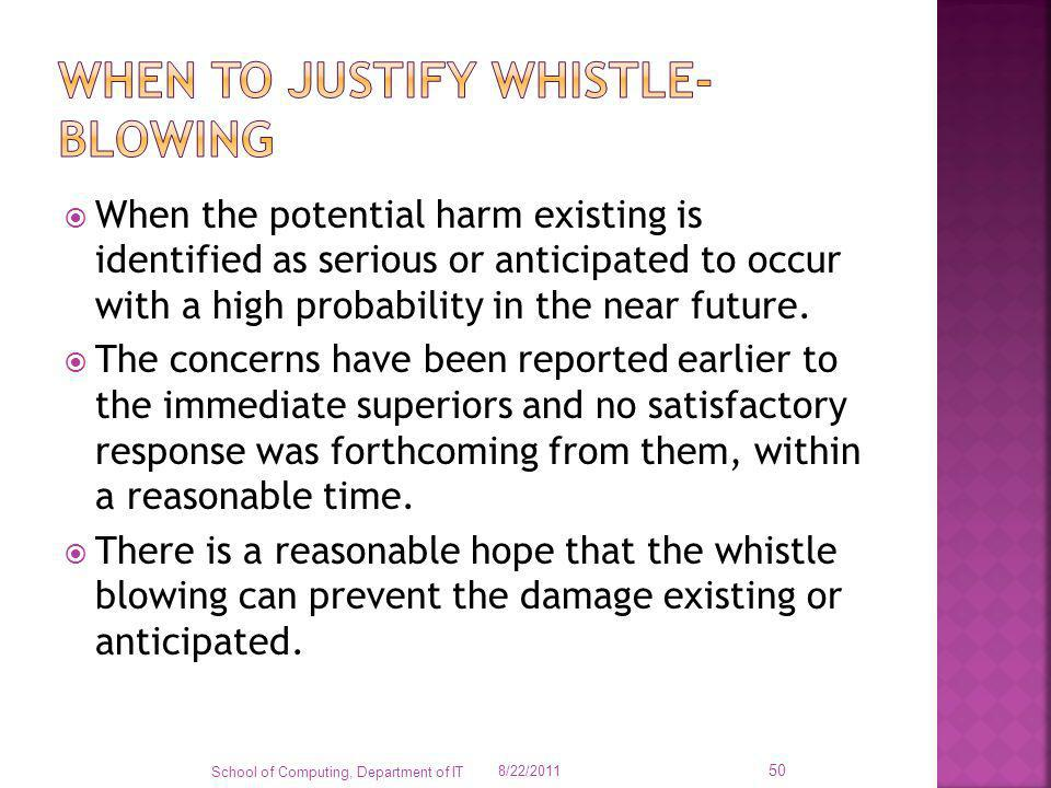 When the potential harm existing is identified as serious or anticipated to occur with a high probability in the near future. The concerns have been r