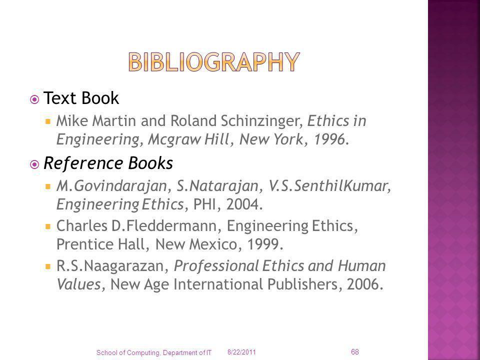 Text Book Mike Martin and Roland Schinzinger, Ethics in Engineering, Mcgraw Hill, New York, 1996. Reference Books M.Govindarajan, S.Natarajan, V.S.Sen