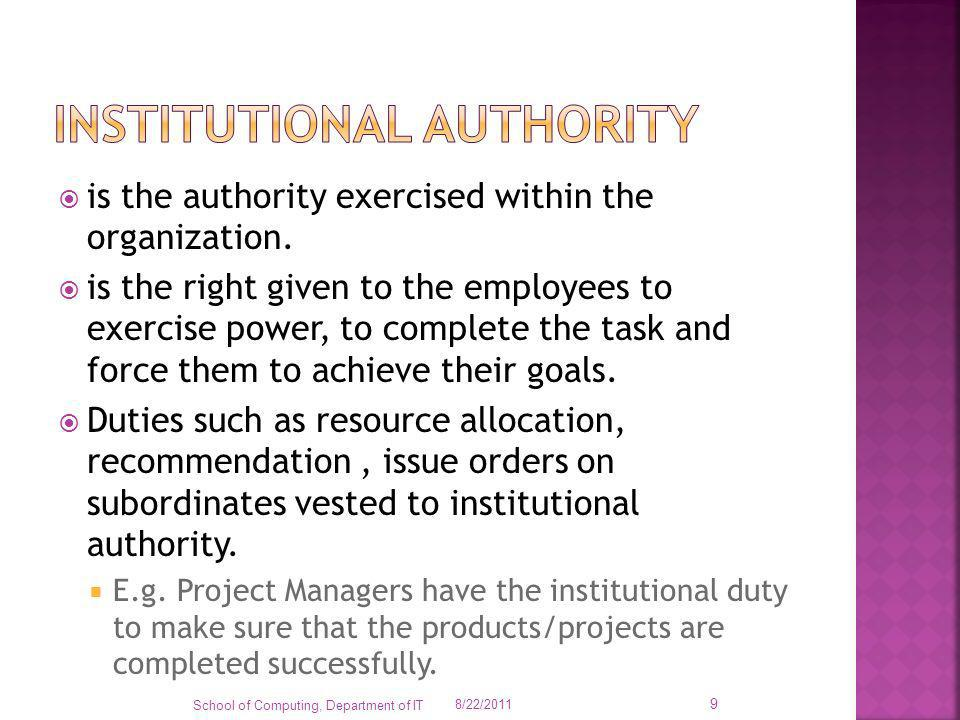 is the authority exercised within the organization. is the right given to the employees to exercise power, to complete the task and force them to achi