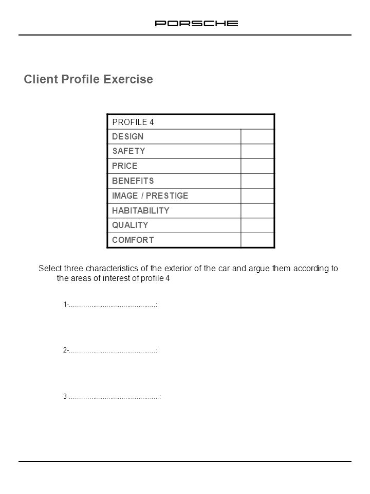 Client Profile Exercise Select three characteristics of the exterior of the car and argue them according to the areas of interest of profile 4 1-.....