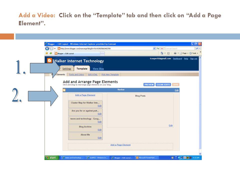 Add a Video: Click on Add HTML/JavaScript.