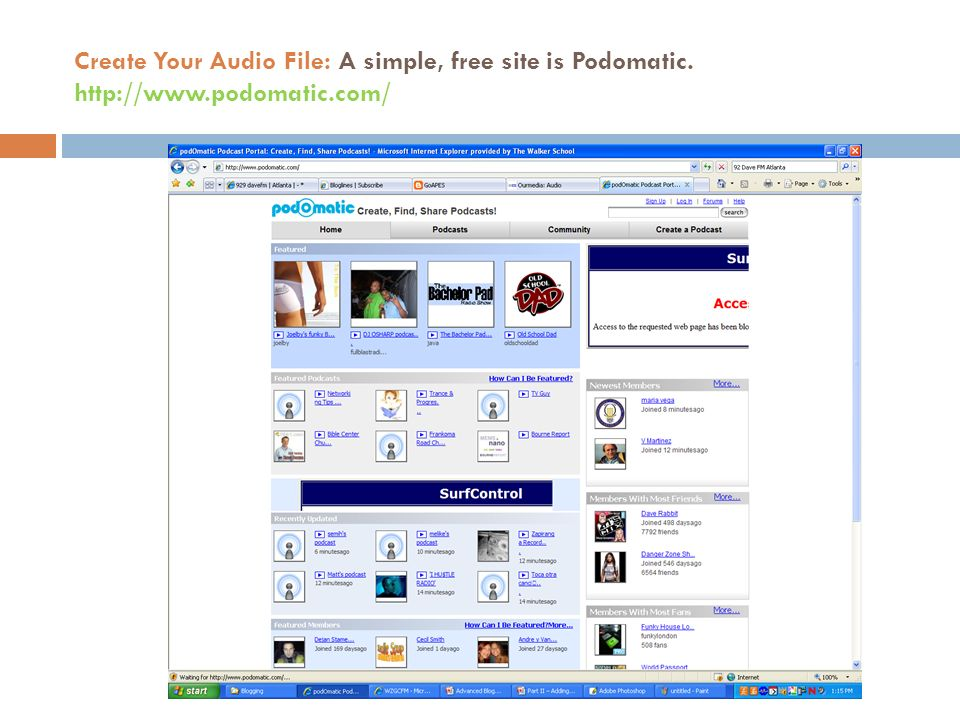 Create Your Audio File: A simple, free site is Podomatic.