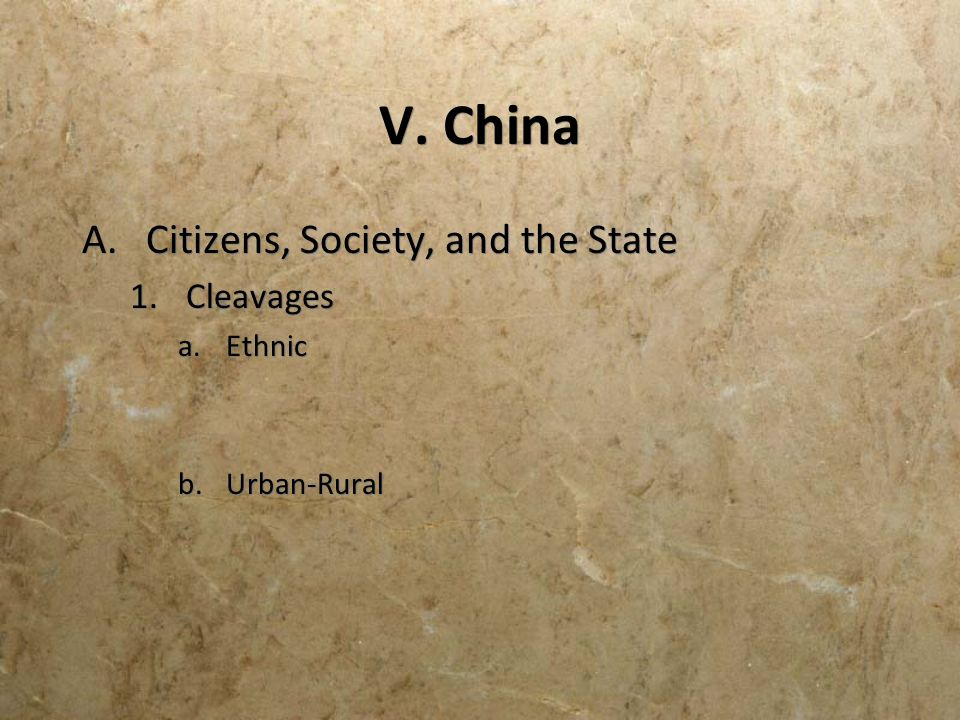 V. China A.Citizens, Society, and the State 1.Cleavages a.Ethnic b.Urban-Rural A.Citizens, Society, and the State 1.Cleavages a.Ethnic b.Urban-Rural