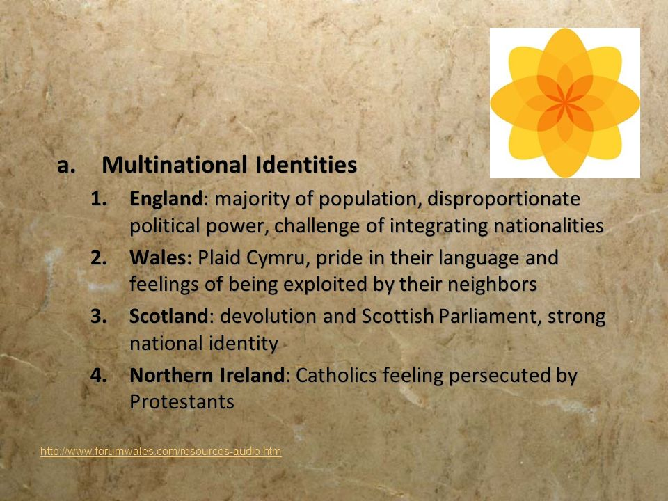 a.Multinational Identities 1.England: majority of population, disproportionate political power, challenge of integrating nationalities 2.Wales: Plaid