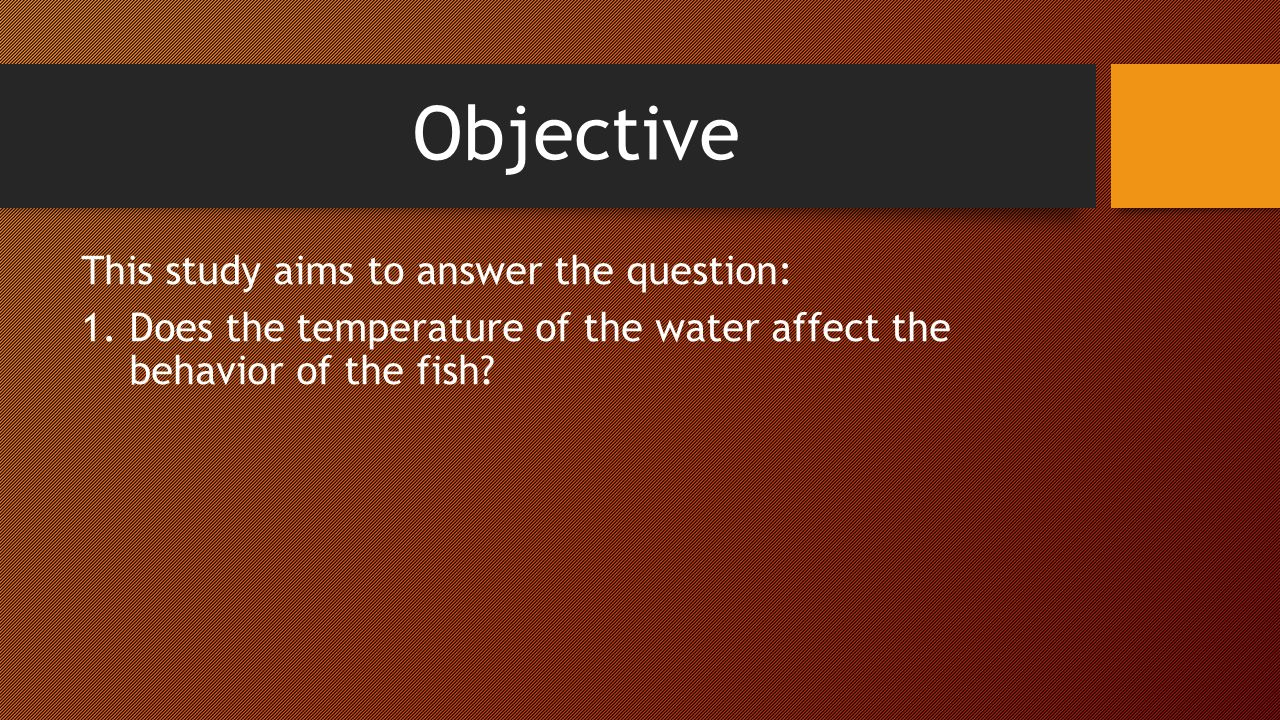 Objective This study aims to answer the question: 1.Does the temperature of the water affect the behavior of the fish?