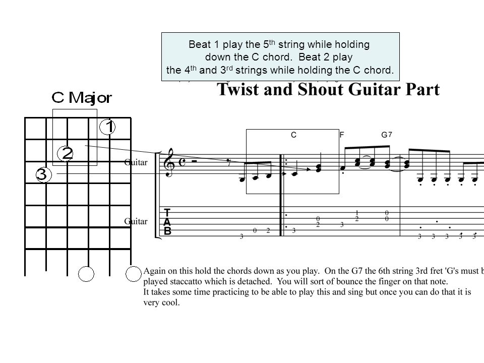 The idea is to play this holding the chord down. Hold a C chord – then hit the 5 th string on beat #1. On beat 2 play the 4 th string and on the and a