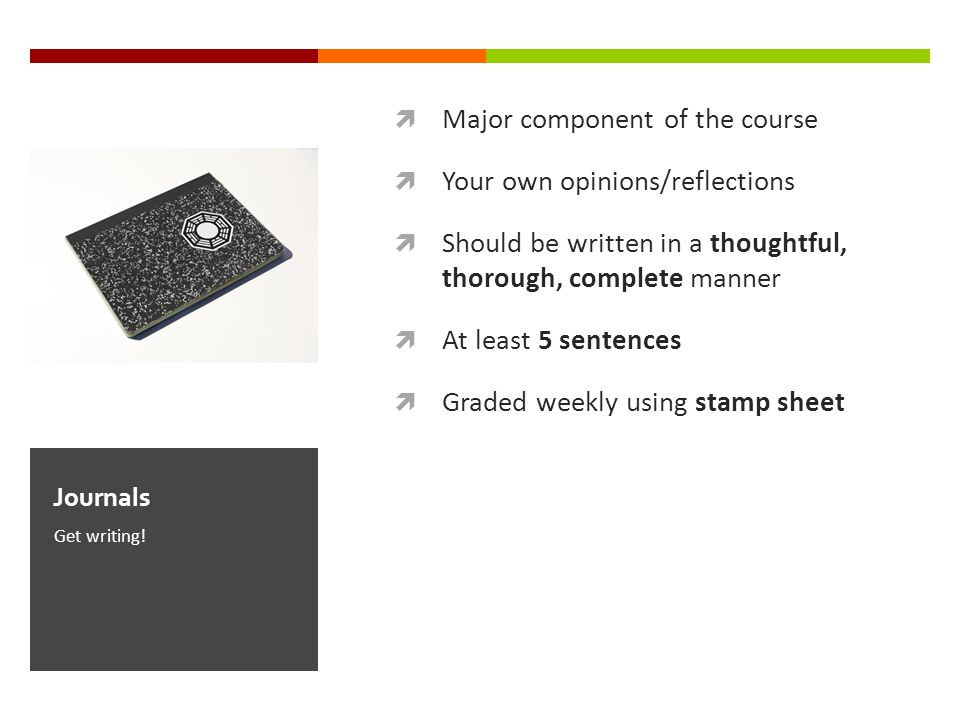 Major component of the course Your own opinions/reflections Should be written in a thoughtful, thorough, complete manner At least 5 sentences Graded weekly using stamp sheet Get writing.