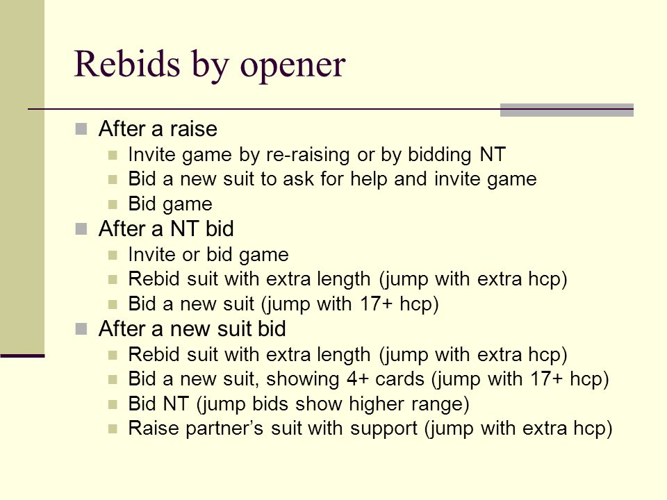 Rebids by opener After a raise Invite game by re-raising or by bidding NT Bid a new suit to ask for help and invite game Bid game After a NT bid Invit