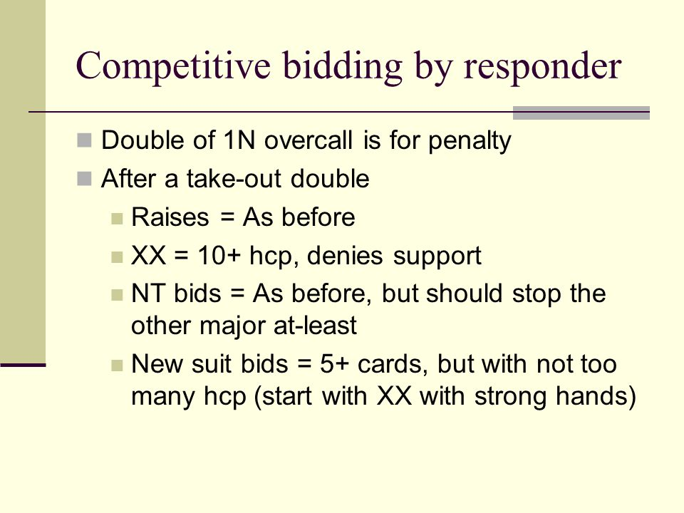 Competitive bidding by responder Double of 1N overcall is for penalty After a take-out double Raises = As before XX = 10+ hcp, denies support NT bids = As before, but should stop the other major at-least New suit bids = 5+ cards, but with not too many hcp (start with XX with strong hands)