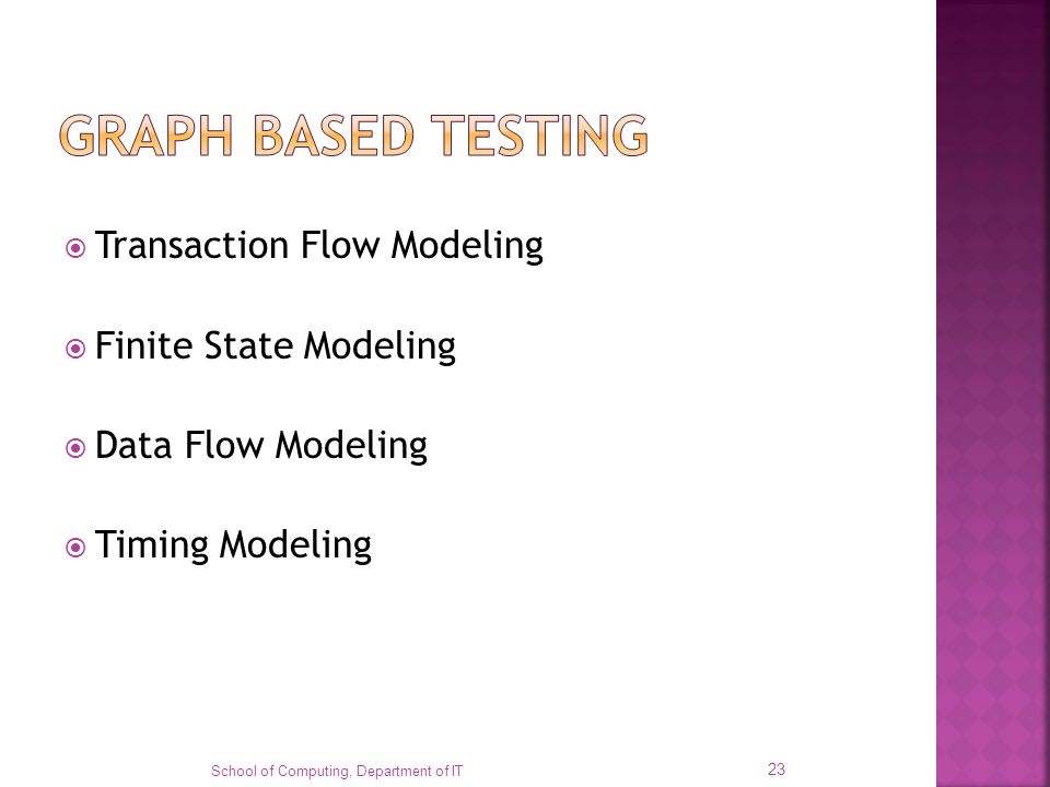Transaction Flow Modeling Finite State Modeling Data Flow Modeling Timing Modeling School of Computing, Department of IT 23