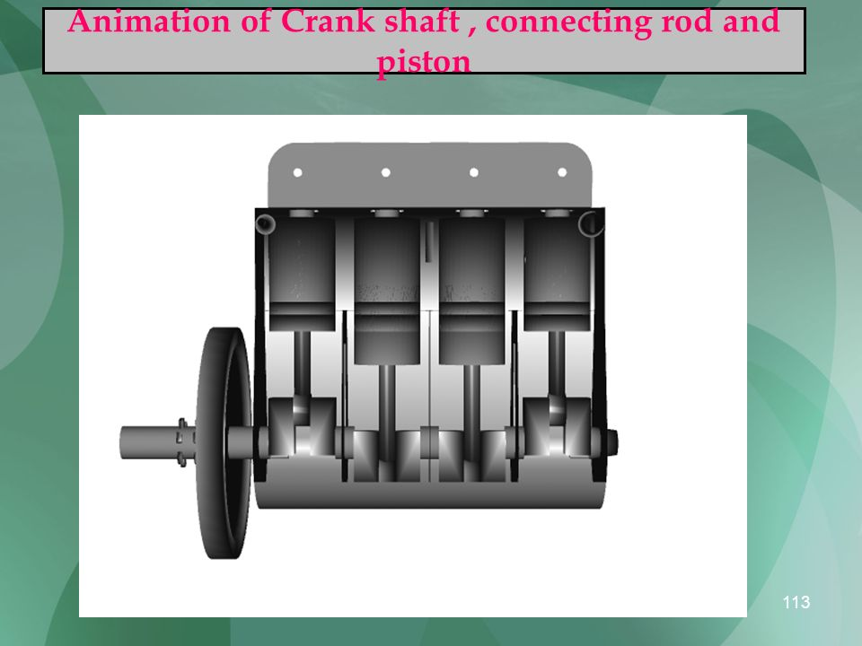 113 Animation of Crank shaft, connecting rod and piston