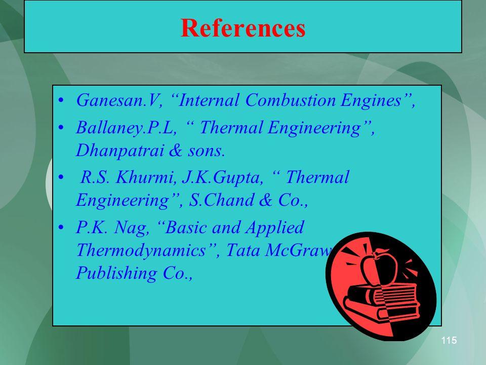 115 References Ganesan.V, Internal Combustion Engines, Ballaney.P.L, Thermal Engineering, Dhanpatrai & sons. R.S. Khurmi, J.K.Gupta, Thermal Engineeri