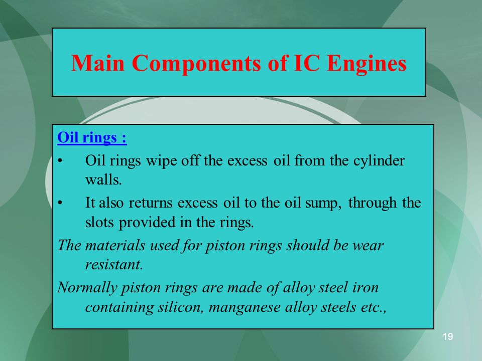 19 Main Components of IC Engines Oil rings : Oil rings wipe off the excess oil from the cylinder walls. It also returns excess oil to the oil sump, th