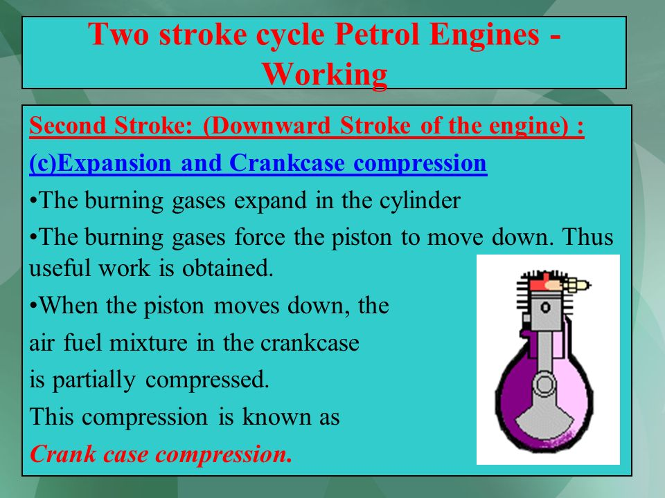 29 Two stroke cycle Petrol Engines - Working Second Stroke: (Downward Stroke of the engine) : (c)Expansion and Crankcase compression The burning gases