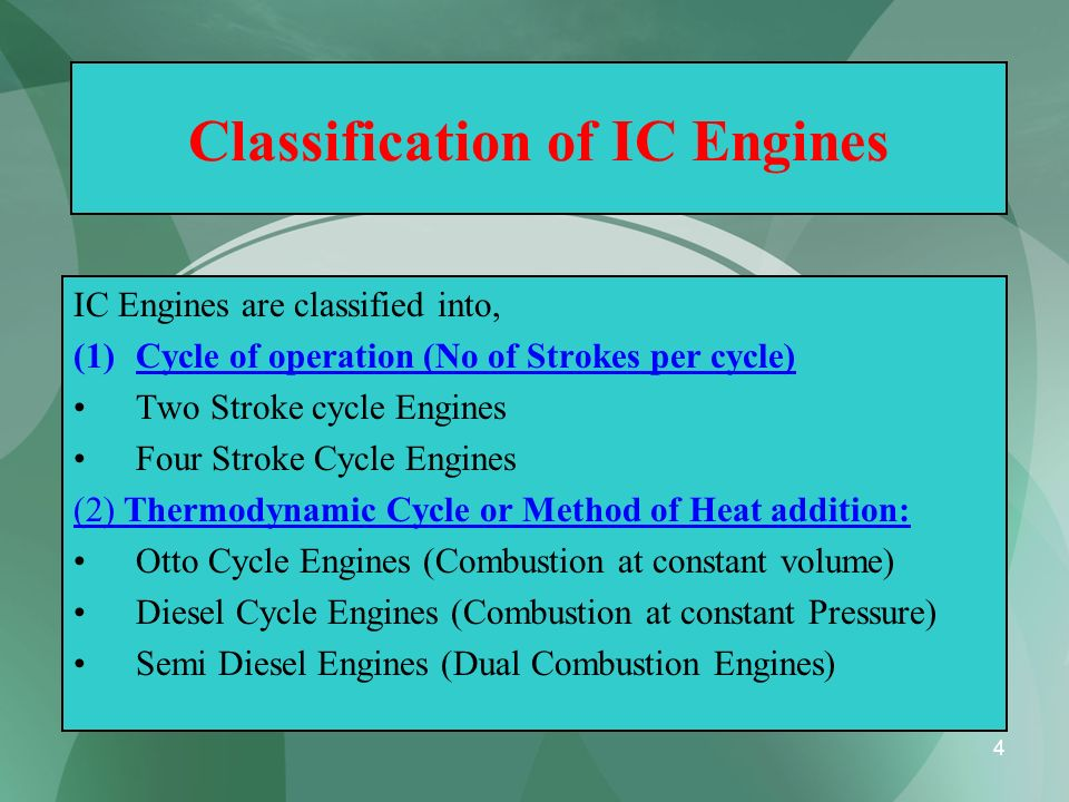 5 Classification of IC Engines (3) Types of Fuel Used : Petrol Engines Diesel Engines Gas Engines (4) Ignition Method : Spark Ignition (SI) Compression Ignition (CI)