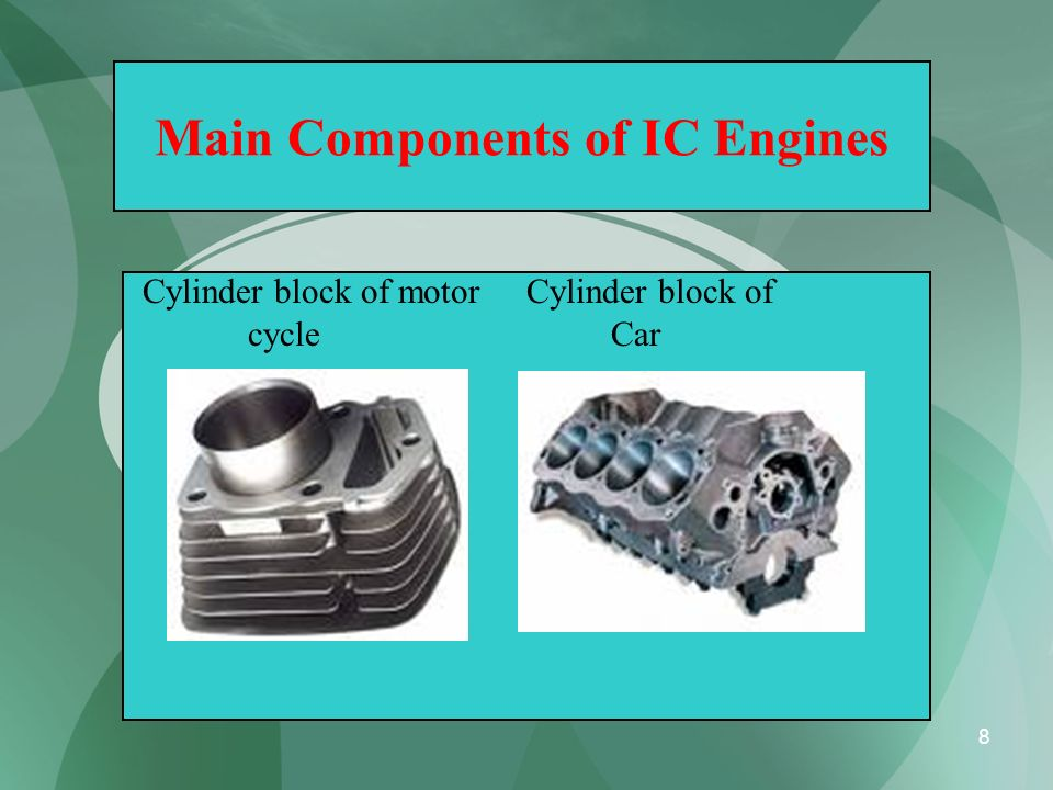8 Main Components of IC Engines Cylinder block of motor Cylinder block of cycle Car