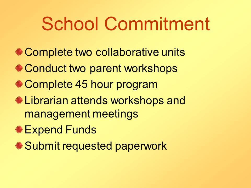 School Commitment Complete two collaborative units Conduct two parent workshops Complete 45 hour program Librarian attends workshops and management me
