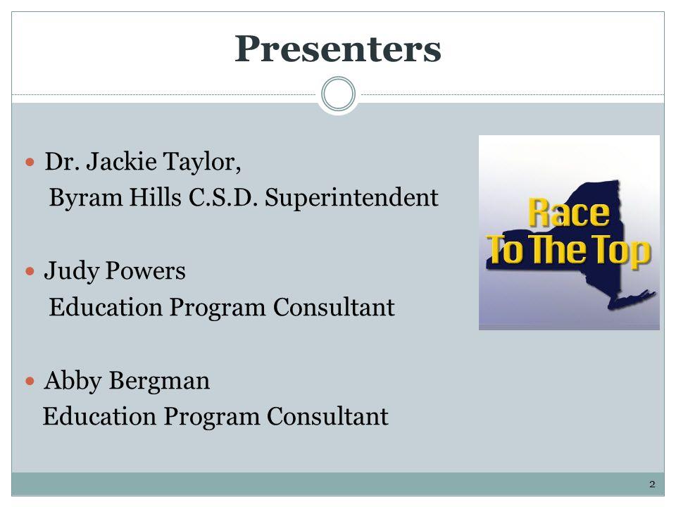 Presenters Dr. Jackie Taylor, Byram Hills C.S.D.