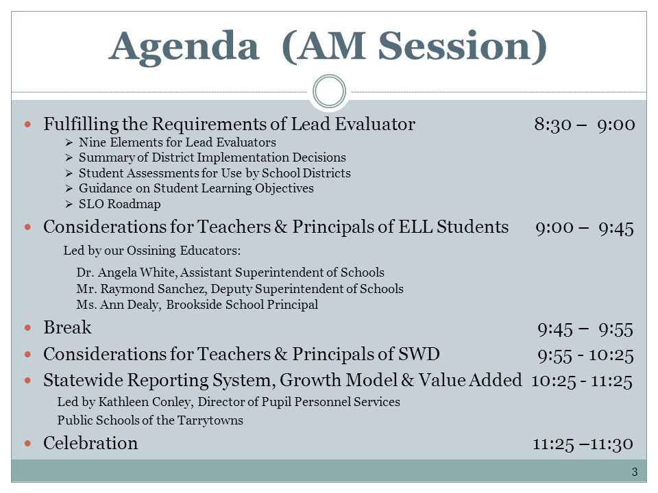 Agenda (AM Session) Fulfilling the Requirements of Lead Evaluator 8:30 – 9:00 Nine Elements for Lead Evaluators Summary of District Implementation Dec