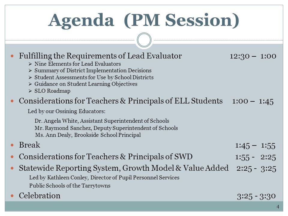 Agenda (PM Session) Fulfilling the Requirements of Lead Evaluator 12:30 – 1:00 Nine Elements for Lead Evaluators Summary of District Implementation De