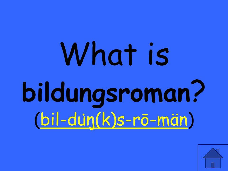 What is bildungsroman ? (bil-du ̇ ŋ(k)s-rō-män)bil-du ̇ ŋ(k)s-rō-män