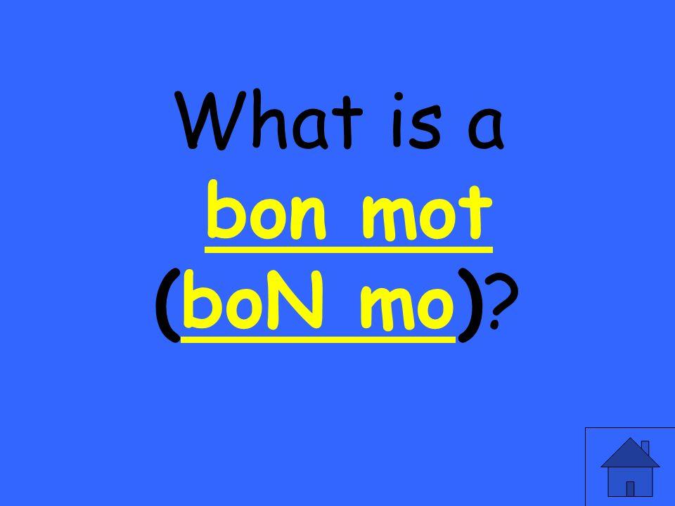 What is a bon mot (boN mo)?bon motboN mo