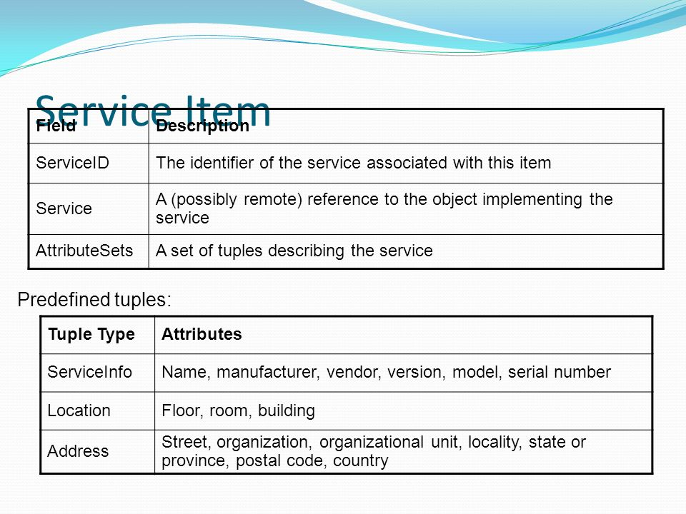 Service Item FieldDescription ServiceIDThe identifier of the service associated with this item Service A (possibly remote) reference to the object implementing the service AttributeSetsA set of tuples describing the service Tuple TypeAttributes ServiceInfoName, manufacturer, vendor, version, model, serial number LocationFloor, room, building Address Street, organization, organizational unit, locality, state or province, postal code, country Predefined tuples: