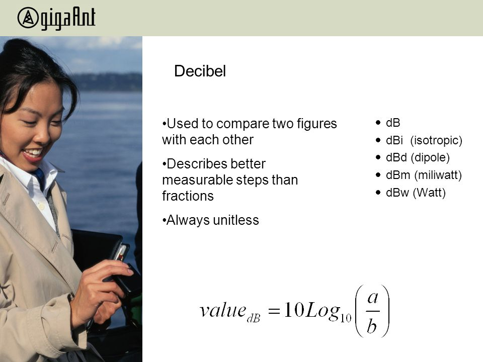 Decibel dB dBi (isotropic) dBd (dipole) dBm (miliwatt) dBw (Watt) Used to compare two figures with each other Describes better measurable steps than f