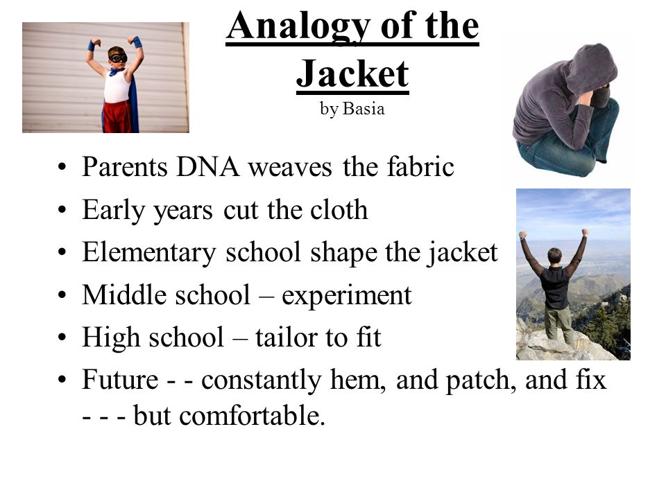 Analogy of the Jacket by Basia Parents DNA weaves the fabric Early years cut the cloth Elementary school shape the jacket Middle school – experiment H