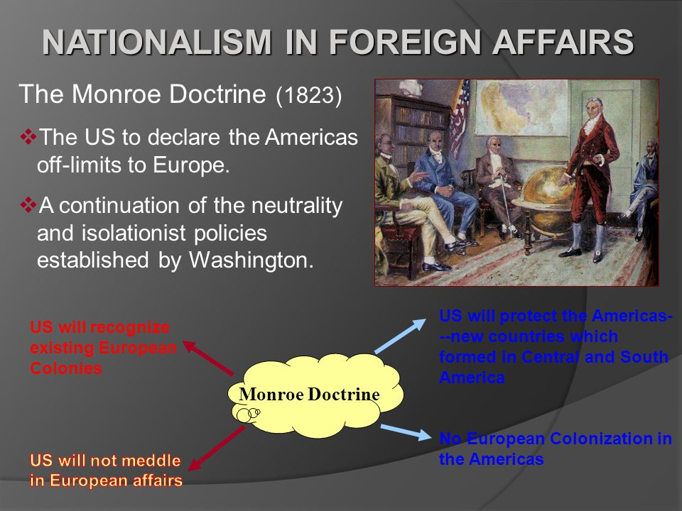 NATIONALISM IN FOREIGN AFFAIRS The Monroe Doctrine (1823) The US to declare the Americas off-limits to Europe. A continuation of the neutrality and is