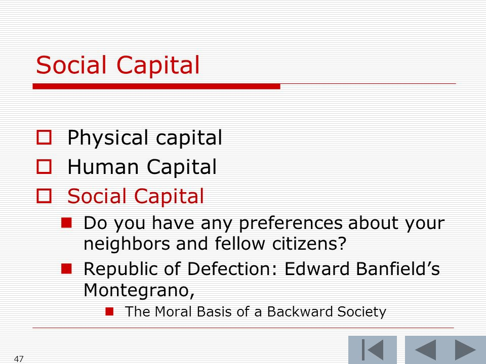 46 Social Capital Physical capital Human Capital Intelligence and health Private virtue, good character