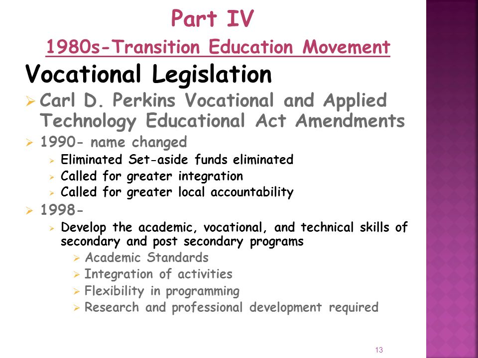 13 Vocational Legislation Carl D.